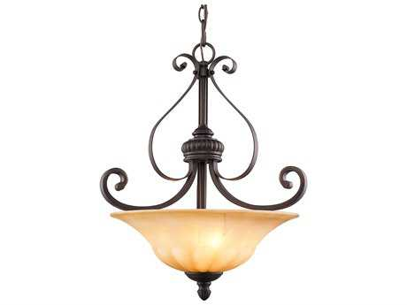 Golden Lighting Mayfair Leather Crackle Three-Light 18'' Wide Pendant Ceiling Light with Creme Brulee Glass