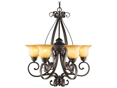 Golden Lighting Mayfair Leather Crackle Six-Light 28.5'' Wide Chandelier with Creme Brulee Glass