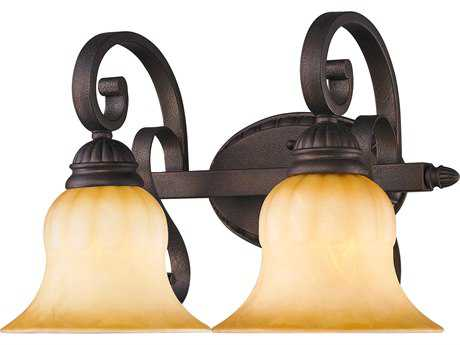 Golden Lighting Mayfair Leather Crackle Two-Light Vanity Light with Creme Brulee Glass