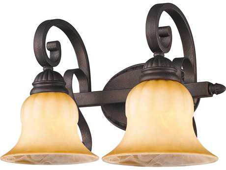 Crackle Glass Vanity Light : Golden Lighting Mayfair Leather Crackle Two-Light Vanity Light with Creme Brulee Glass GO7116BA2LC