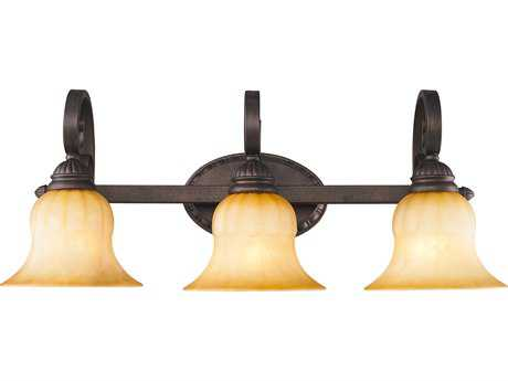 Golden Lighting Mayfair Leather Crackle Three-Light Vanity Light with Creme Brulee Glass