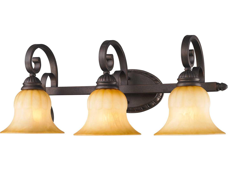 Crackle Glass Vanity Light : Golden Lighting Mayfair Leather Crackle Three-Light Vanity Light with Creme Brulee Glass ...