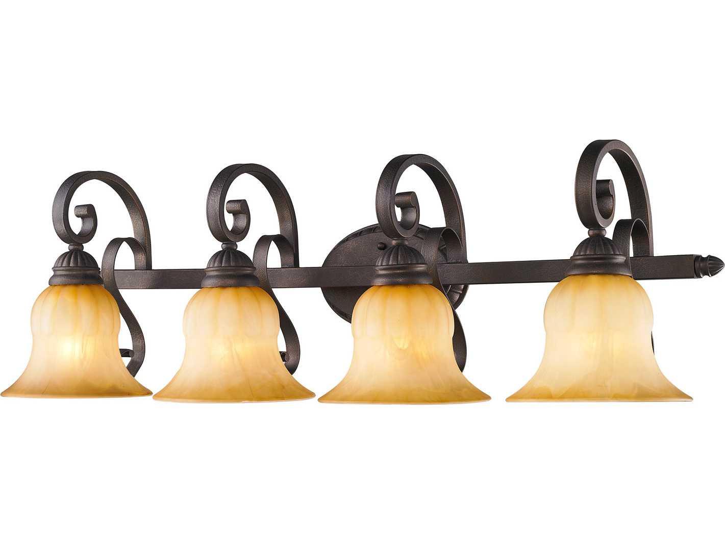 Crackle Glass Vanity Light : Golden Lighting Mayfair Leather Crackle Four-Light Vanity Light with Creme Brulee Glass ...