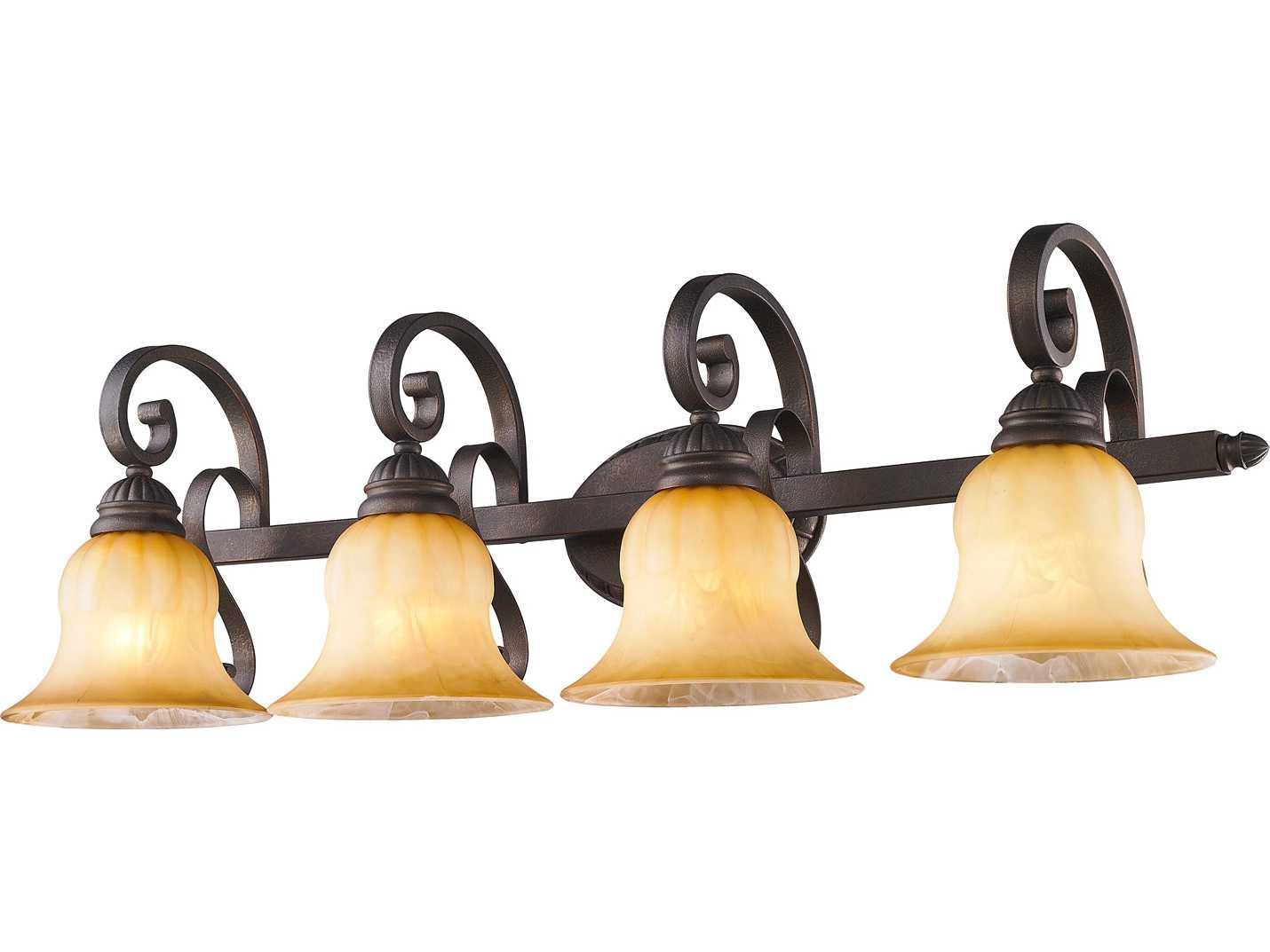 Golden Lighting Mayfair Leather Crackle Four-Light Vanity Light with Creme Brulee Glass ...