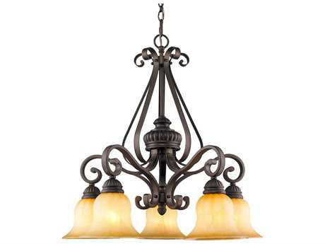 Golden Lighting Mayfair Leather Crackle Five-Light 26'' Wide Chandelier with Creme Brulee Glass