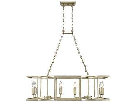Golden Lighting Bellare White Gold Eight-Light 38'' Wide Island Ceiling Light