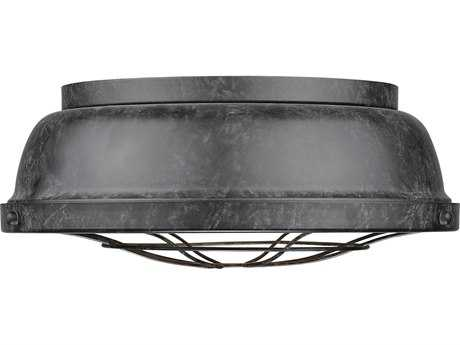 Golden Lighting Bartlett Black Patina Two-Light 14'' Wide Flush Mount Ceiling Light with Black Patina Shade