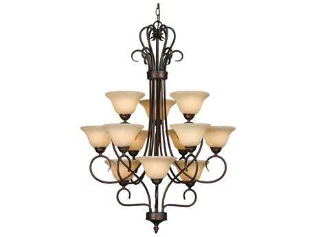 Golden Lighting Multi-Family Rubbed Bronze 12-Light 28'' Wide Chandelier with Tea Stone Glass
