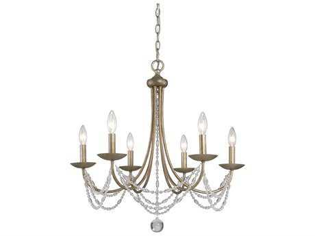 Golden Lighting Mirabella Golden Aura Six-Light 25.5'' Wide Chandelier with metal candlesticks