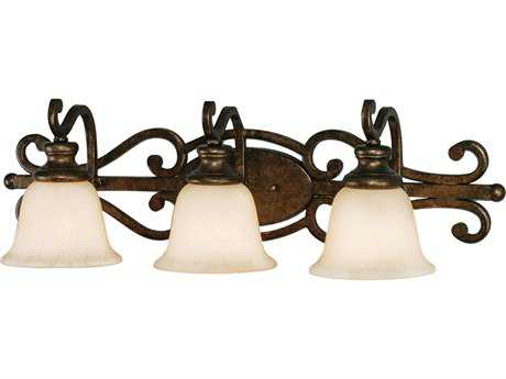 Golden Lighting Heartwood Burnt Sienna Three-Light Vanity Light with Tea Stone Glass