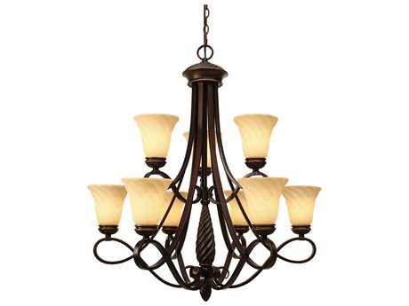 Golden Lighting Torbellino Cordoban Bronze Nine-Light 33.5'' Wide Chandelier with Remolino Glass