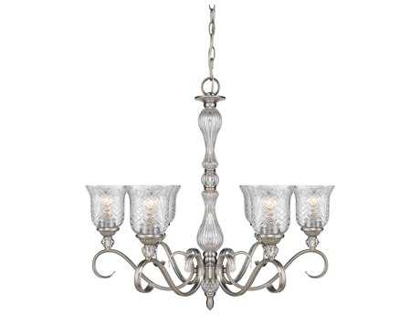 Golden Lighting Alston Place Pewter Six-Light 29'' Wide Chandelier with Iced Crystal Glass
