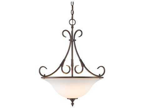 Golden Lighting Homestead Rubbed Bronze Three-Light 19.5'' Wide Pendant Ceiling Light with Opal Glass