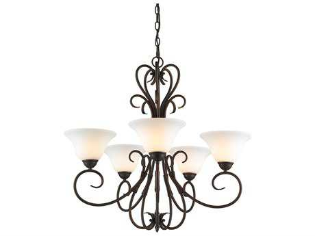 Golden Lighting Homestead Rubbed Bronze Five-Light 27.5'' Wide Chandelier with Opal Glass