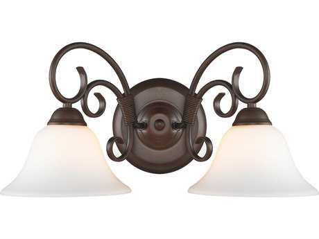 Golden Lighting Homestead Rubbed Bronze Two-Light Vanity Light with Opal Glass