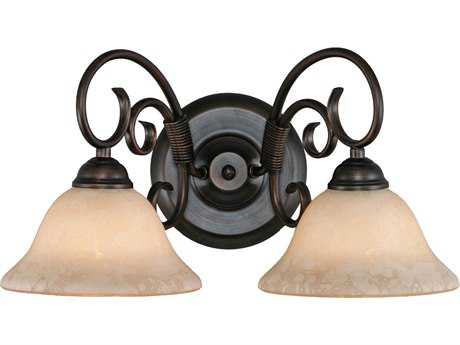 Golden Lighting Homestead Rubbed Bronze Two-Light Vanity Light with Tea Stone Glass