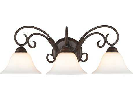 Golden Lighting Homestead Rubbed Bronze Three-Light Vanity Light with Opal Glass