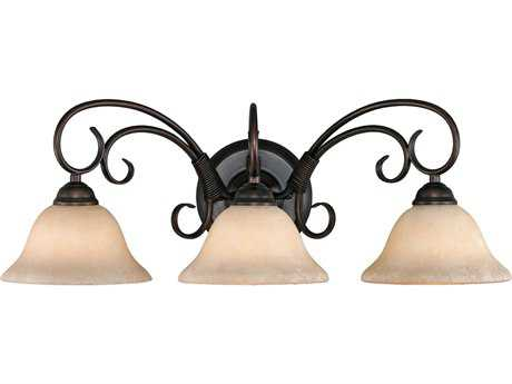 Golden Lighting Homestead Rubbed Bronze Three-Light Vanity Light with Tea Stone Glass
