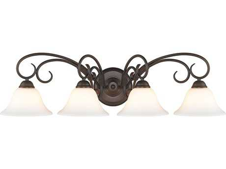 Golden Lighting Homestead Rubbed Bronze Four-Light Vanity Light with Opal Glass