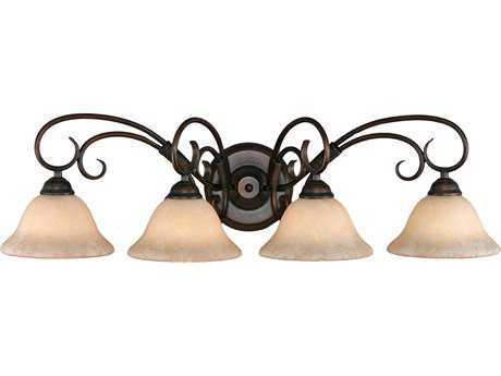 Golden Lighting Homestead Rubbed Bronze Four-Light Vanity Light with Tea Stone Glass
