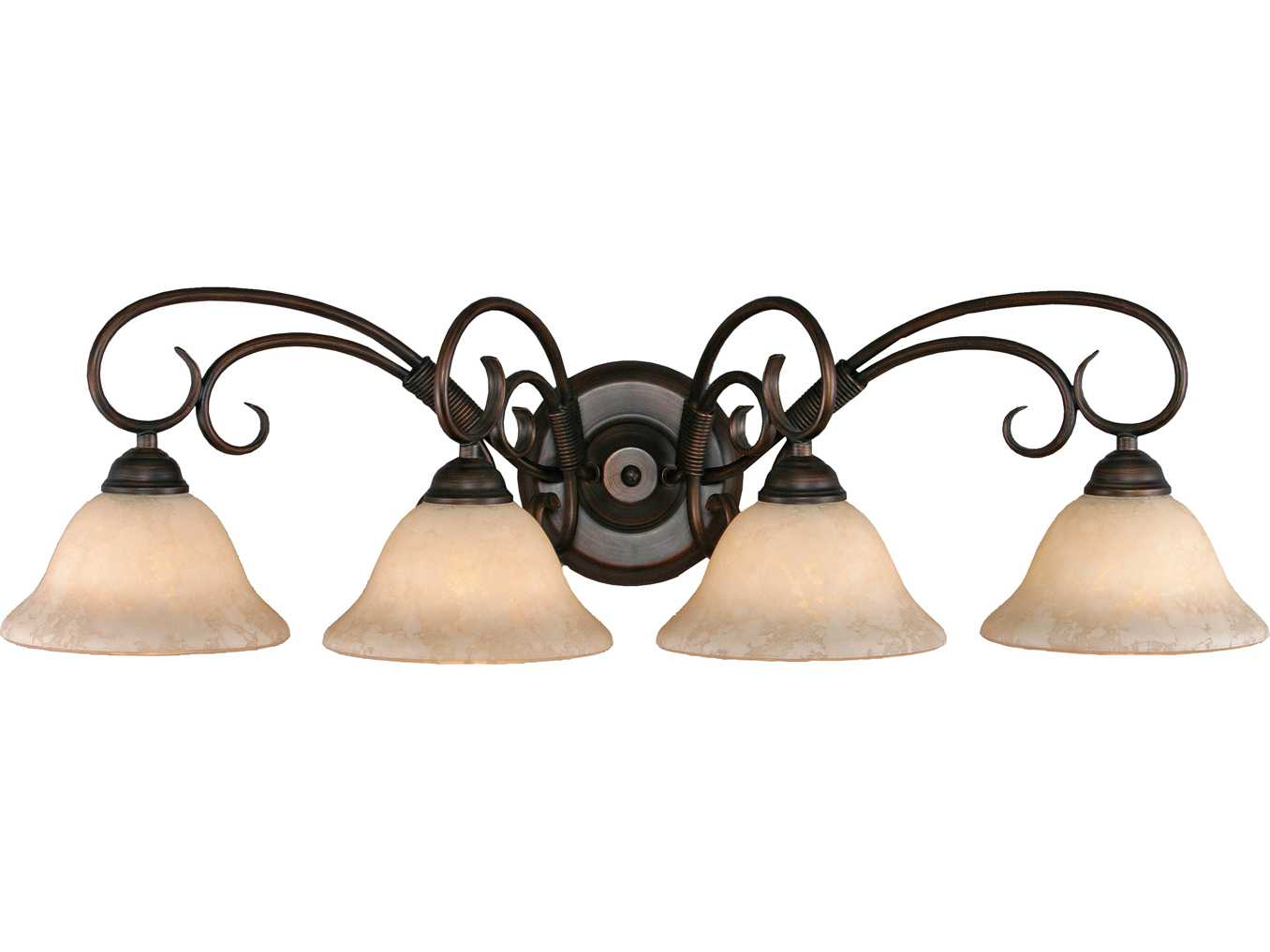 Golden Lighting Homestead Rubbed Bronze Four-Light Vanity Light with Tea Stone Glass ...