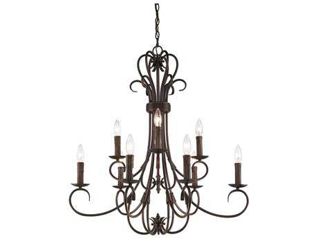 Golden Lighting Homestead Rubbed Bronze Nine-Light 28'' Wide Chandelier with Drip Candlesticks