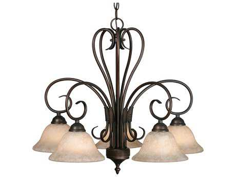 Golden Lighting Homestead Rubbed Bronze Five-Light 25.25'' Wide Chandelier with Tea Stone Glass