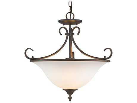 Golden Lighting Homestead Rubbed Bronze Three-Light 18.5'' Wide Convertible Pendant / Semi-Flush Mount Light with Opal Glass
