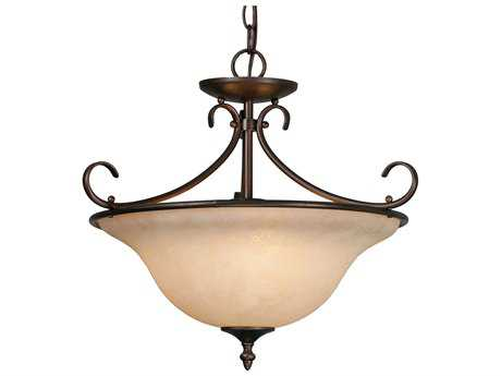 Golden Lighting Homestead Rubbed Bronze Three-Light 18.5'' Wide Convertible Pendant / Semi-Flush Mount Light with Tea Stone Glass