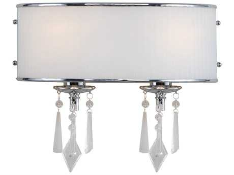 Golden Lighting Echelon Chrome Two-Light Vanity Light with Bridal Veil Glass