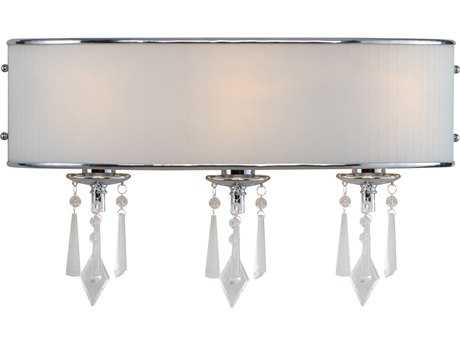 Golden Lighting Echelon Chrome Three-Light Vanity Light with Bridal Veil Glass
