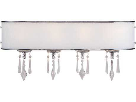 Golden Lighting Echelon Chrome Four-Light Vanity Light with Bridal Veil Glass
