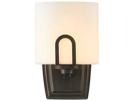 Golden Lighting Presilla Gunmetal Bronze Wall Sconce with Opal Glass