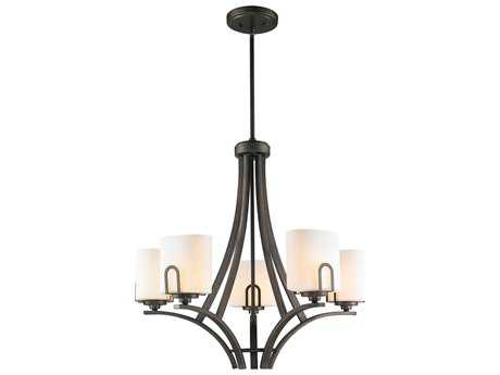 Golden Lighting Presilla Gunmetal Bronze Five-Light 26.25'' Wide Chandelier with Opal Glass
