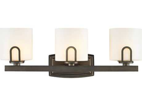Golden Lighting Presilla Gunmetal Bronze Three-Light Vanity Light with Opal Glass