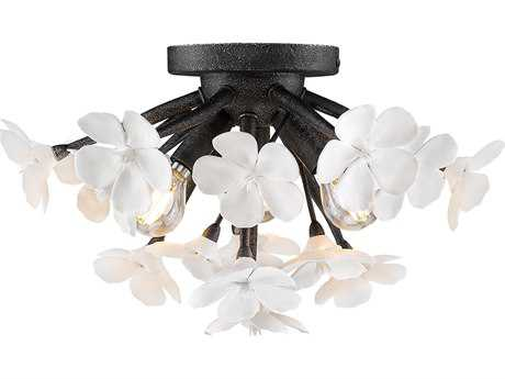 Golden Lighting Posy Dark Natural Iron Three-Light 15'' Wide Flush Mount Ceiling Light with Porcelain Flowers Shade