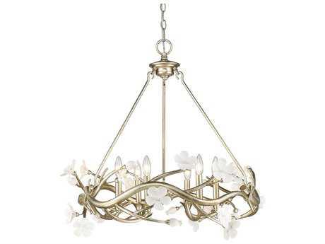 Golden Lighting Aiyana Silver Leaf Six-Light 28'' Wide Standard Chandelier with Porcelain Flowers