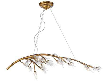 Golden Lighting Aiyana Gold Leaf Seven-Light 46.5'' Wide Standard Chandelier with Clear Glass