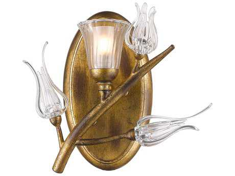 Golden Lighting Aiyana Gold Leaf Wall Sconce with Clear Glass