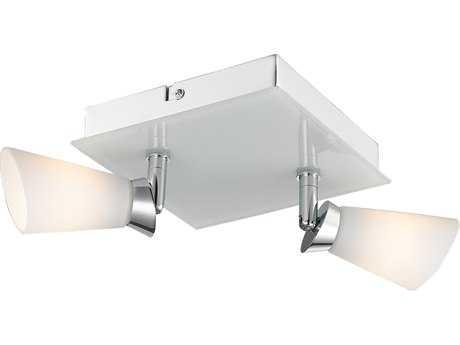 Golden Lighting Iberlamp Opera Chrome Two-Light 6.38'' Wide Flush Mount Ceiling Light with Cased Opal Glass