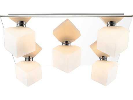 Golden Lighting Iberlamp Volga Chrome Five-Light 17.75'' Wide Flush Mount Ceiling Light with Cased Opal Glass