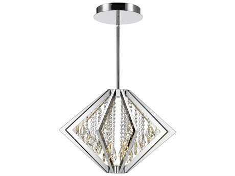 Golden Lighting Mei Chrome Nine-Light 17.5'' Wide LED Pendant Ceiling Light with Suspension Glass