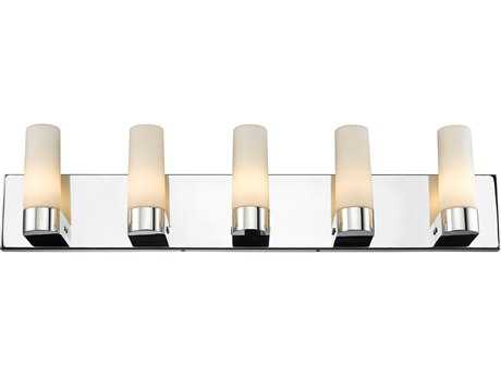 Golden Lighting Iberlamp Cilia Chrome Five-Light Vanity Light with Opal Glass