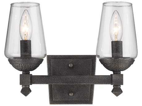 Golden Lighting Marcellis Dark Natural Iron Two-Light Vanity Light with Clear Glass (Open Box)