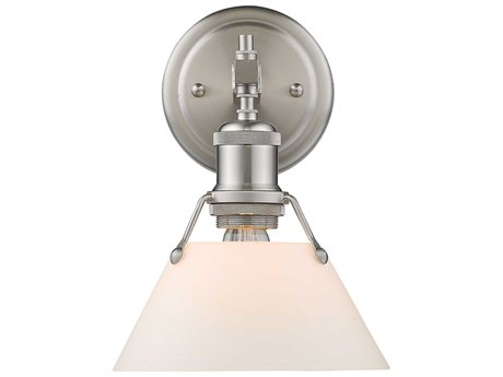 Golden Lighting Orwell Pewter 7.5'' Wide Vanity Light with Opal Glass Shade (Open Box)