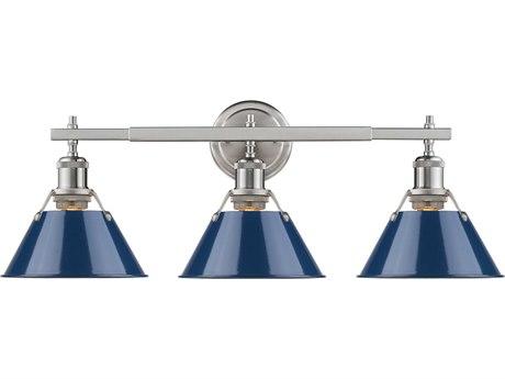 Golden Lighting Orwell Pewter Three-Light 24.25'' Wide Vanity Light with Navy Blue Shade (Open Box)