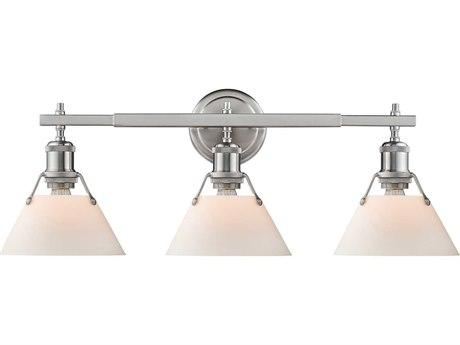 Golden Lighting Orwell Pewter Three-Light 24.25'' Wide Vanity Light with Opal Glass Shades (Open Box)