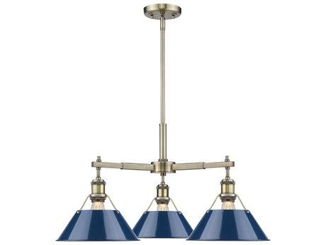 Golden Lighting Orwell Aged Brass Three-Light 28'' Wide Mini-Chandelier with Navy Blue Shade (Open Box)