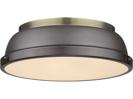 Golden Lighting Duncan Aged Brass Two-Light 14'' Wide Flush Mount Ceiling Light with Rubbed Bronze Shade (Open Box)
