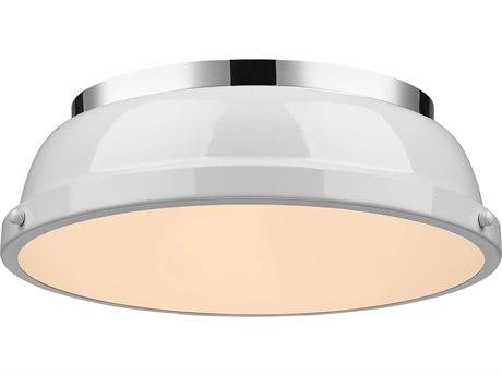 Golden Lighting Duncan Chrome 14'' Wide Flush Mount Ceiling Light with White Shade (Open Box)